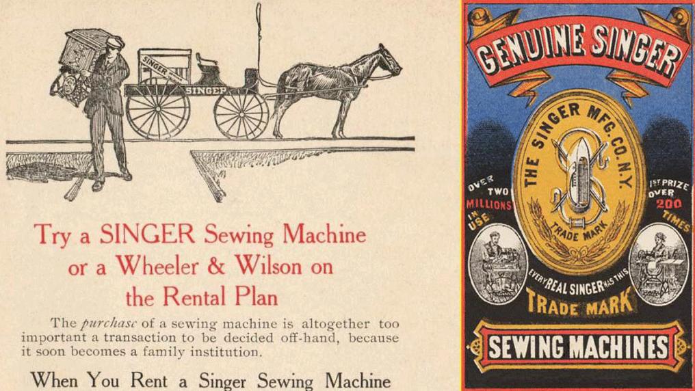 Singer inventó el sistema de renting – Anuncios de finales del siglo XIX