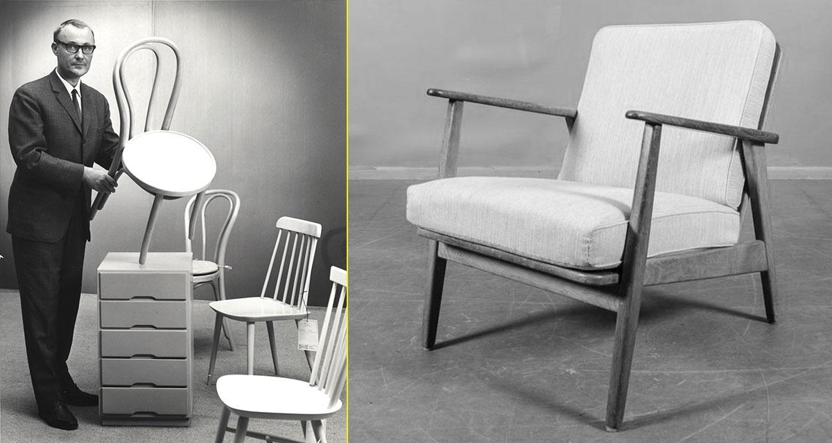Ingvar Kamprad con uno de los primeros productos de diseño propio, la silla ÖGLA. A la derecha el sillón modelo Esbjerg de mediados de los 50