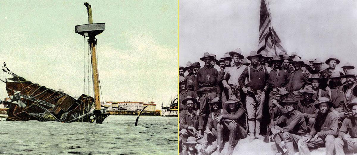 El hundimiento del buque americano USS Maine convirtió la guerra entre EEUU y España. A la derecha, brigada de voluntarios llamada The Rough Riders