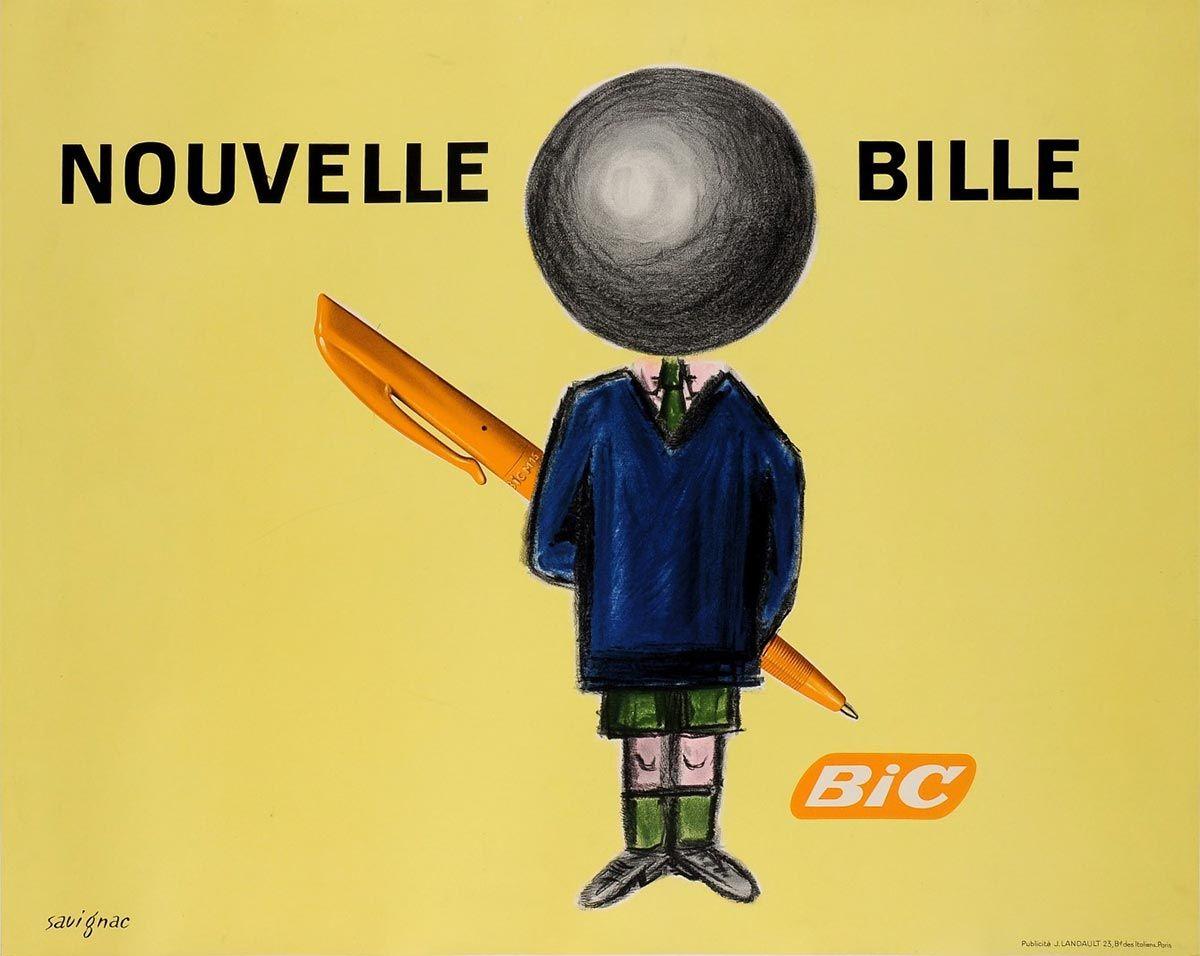 Campaña de Savignac de 1961 donde aparece por primera vez el BiC Boy