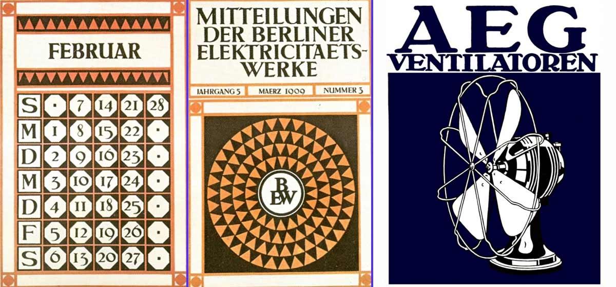 Calendario y cartel diseñados por Peter Behrens