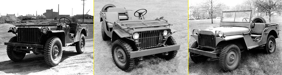 Evolución de los prototipos. De izquierda a derecha: El Bantam BRC 40, el Ford GP y el Willys MA