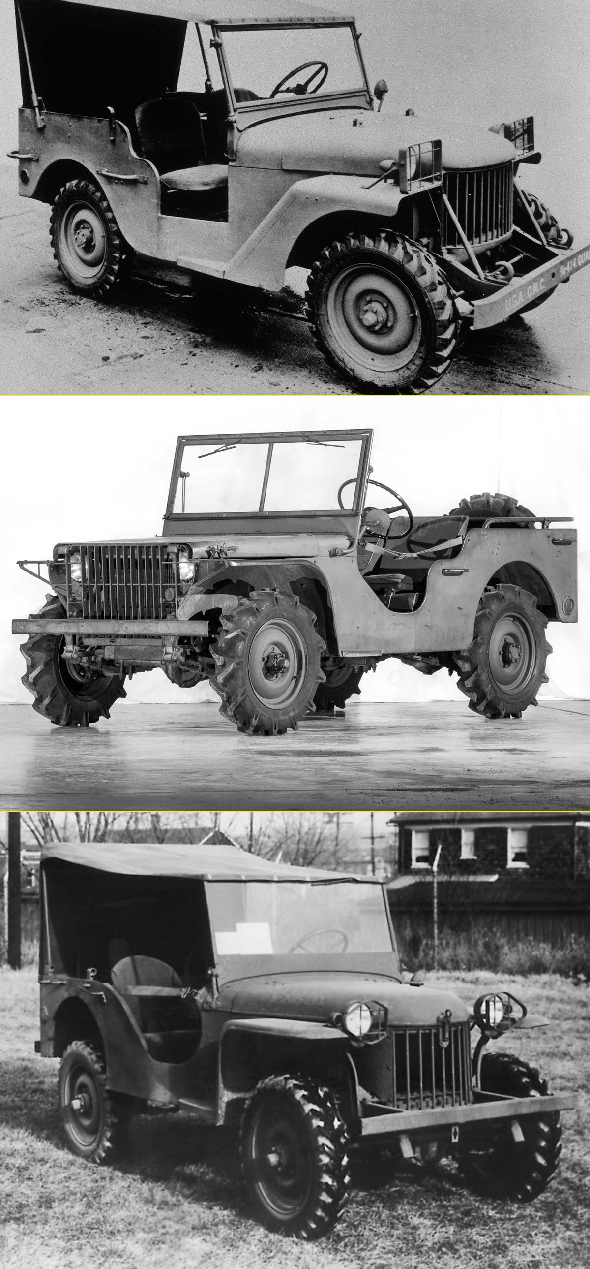 Desde arriba. El Willys Quad, el Ford Pygmy y el Bantam BRC 60