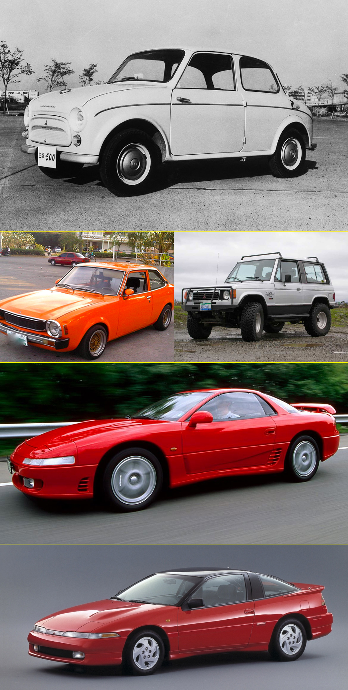 Mitsubishi 500 Deluxe (1962), Lancer (1975), Pajero (1983), 3000GT y Eclipse (1990)