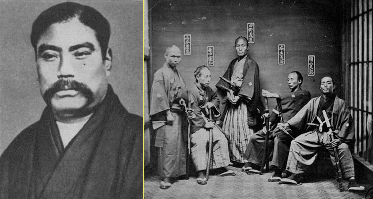 Yataro-Iwasaki y grupo de Samuráis, 1850-1860