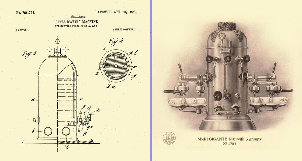 Primera máquina de café expreso