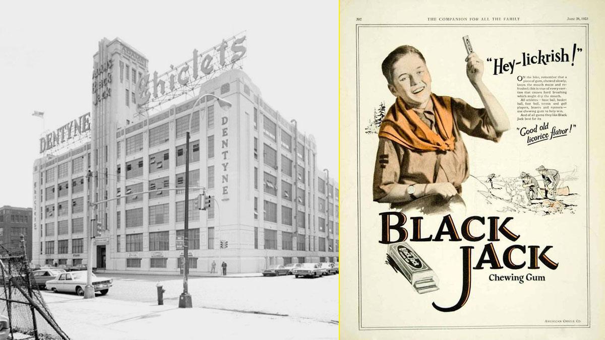 Fábrica de American Chicle Co. 1920 Long Island. Anuncio de prensa de 1923.