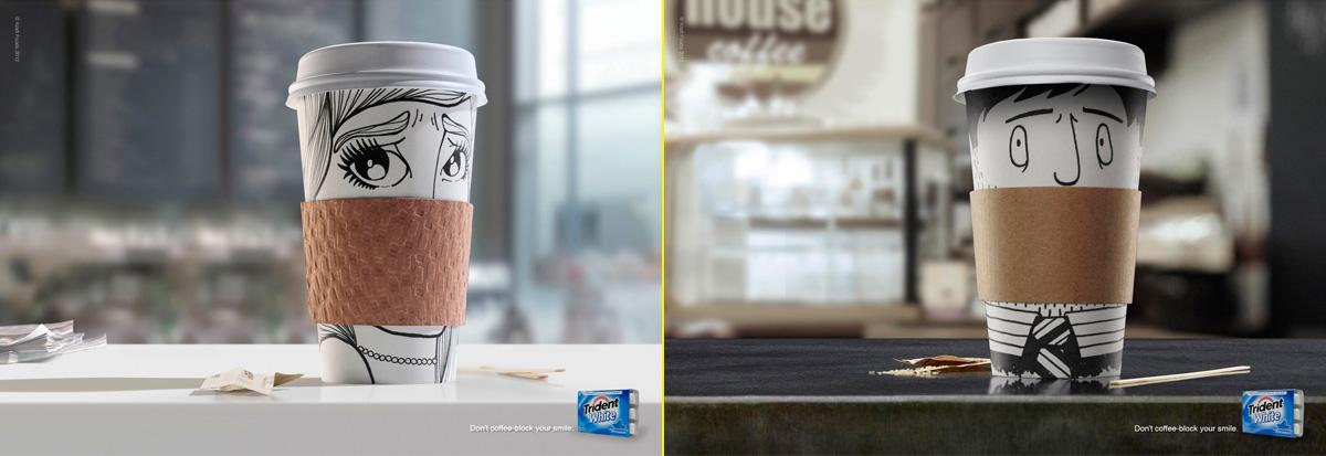"""Campaña de Matt Mckay con ilustraciones de Josh Harvey y Anna Gómez. """"No dejes que el café tape tu sonrisa"""""""