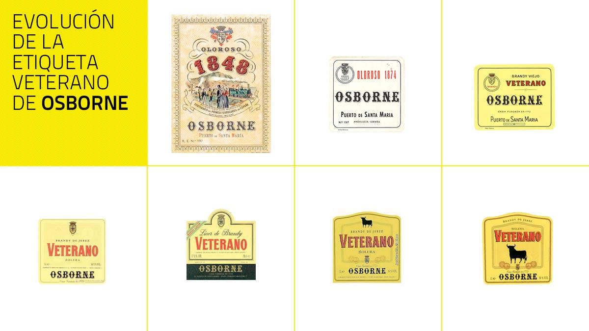 Evolución de la etiqueta Veterano de Osborne