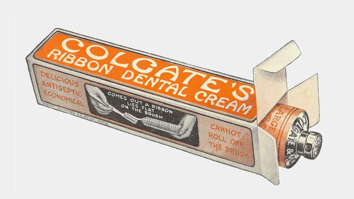 Diseño de envase de Colgate de principios de siglo XX