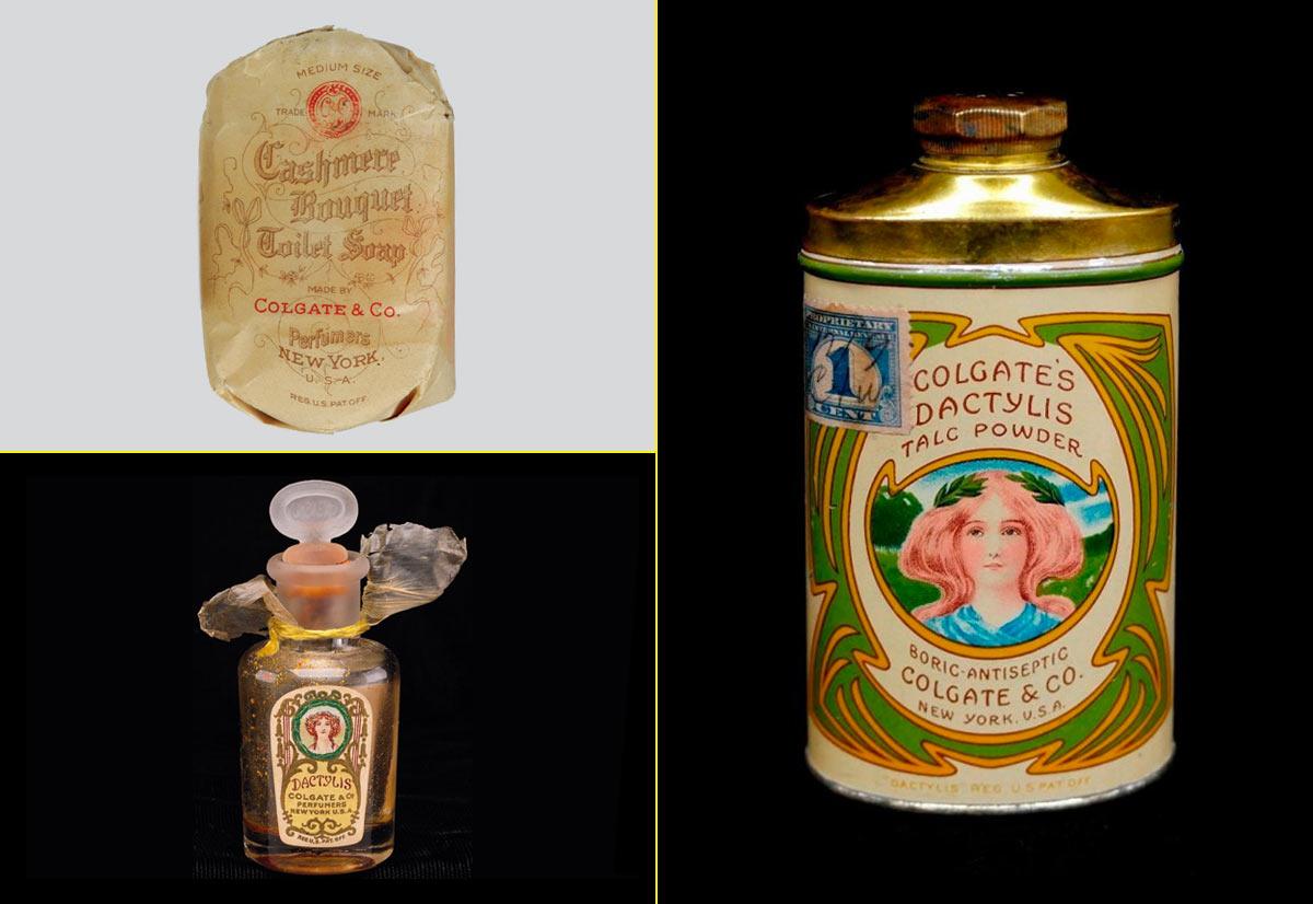 Primeras etiquetas y packagings de los productos de Colgate (1866)