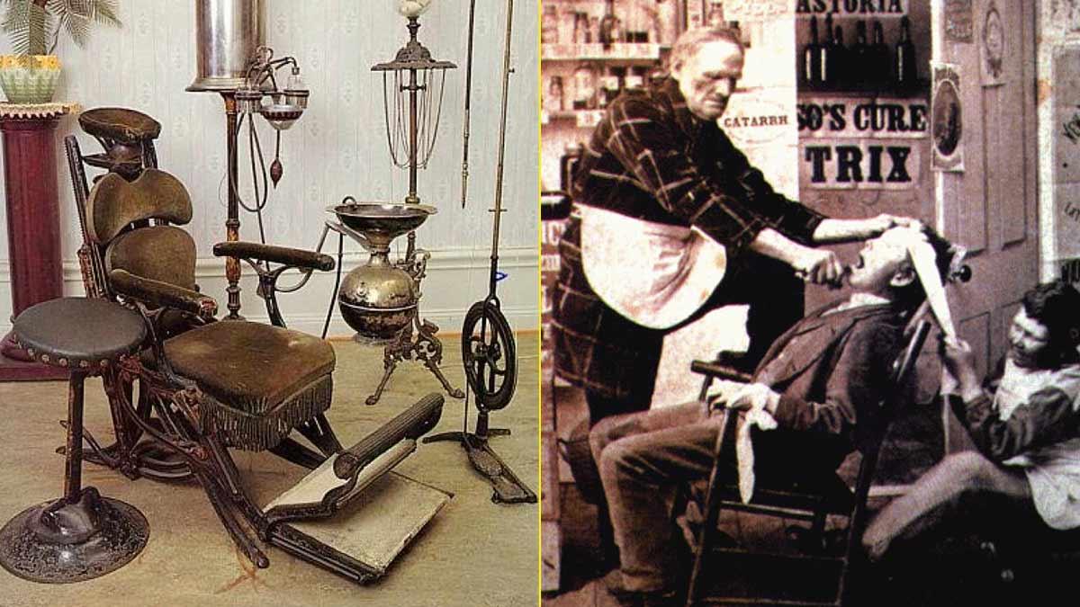 Una de las primeras sillas de dentista – Barbero sacando una muela