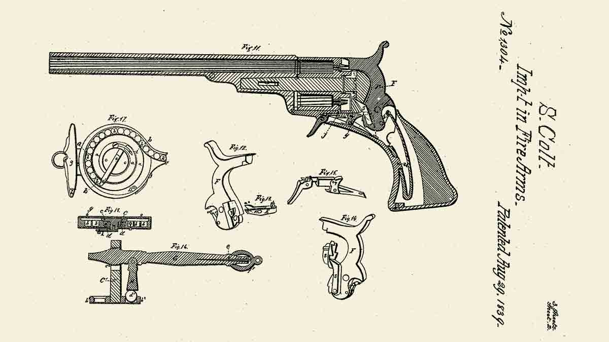 Patente de uno de los primeros sistemas de gatillo de Colt (1839)