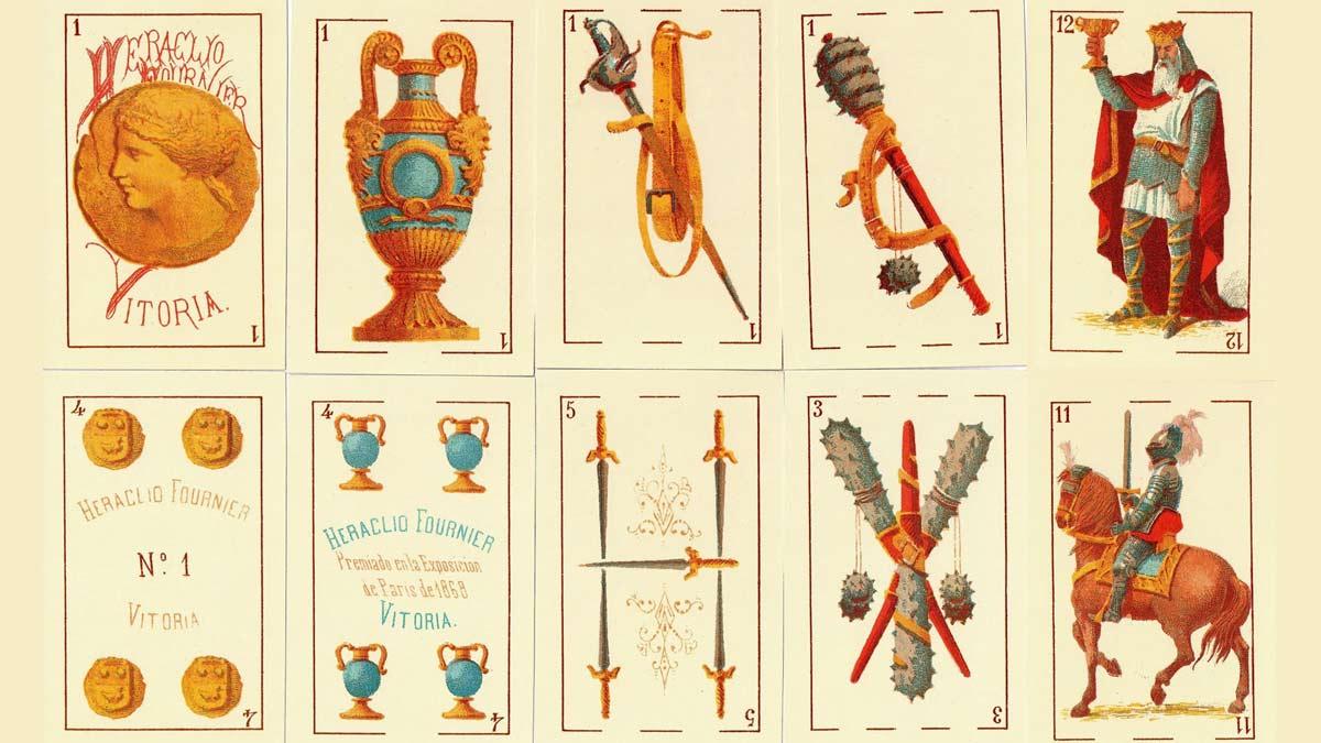 Baraja editada por Heraclio Fournier, premiada en la Exposición de París de 1868