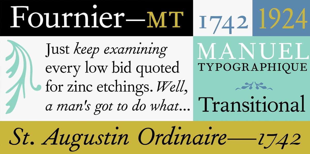 Monotype creó Fournier MT, una familia tipográfica basada en los diseños originales de Pierre Simon Fournier