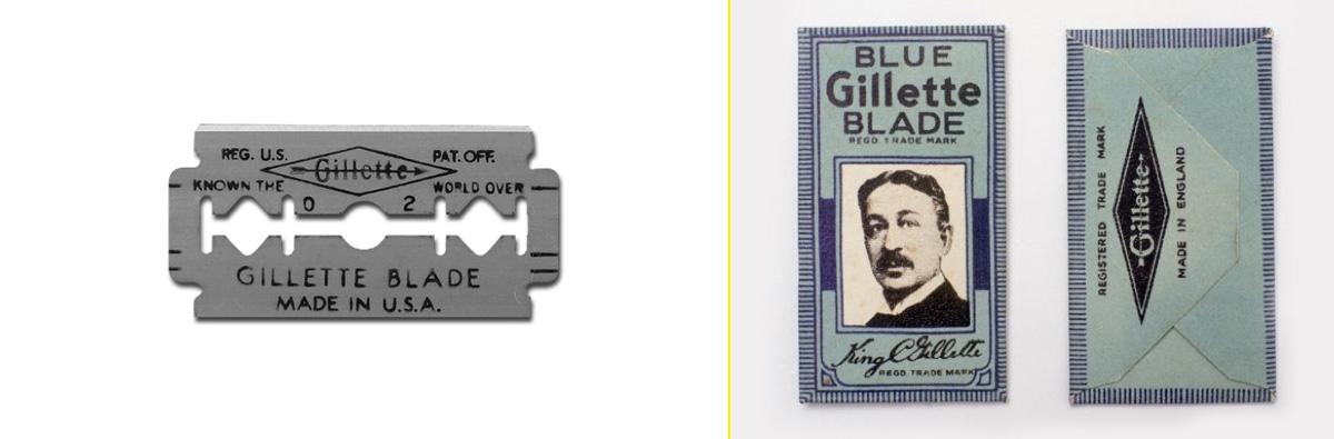 Una de las primeras hojas de acero inoxidable - Primeros packagings con la cara de King Camp Gillette