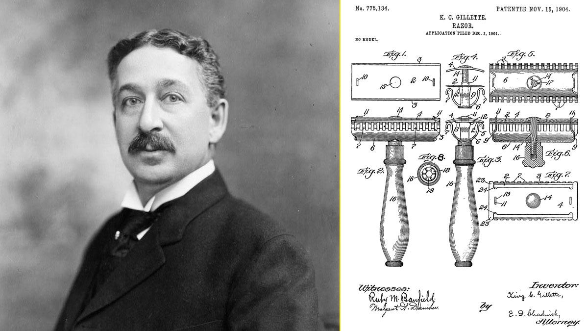 King Camp Gillette - Patente de la primera maquinilla de afeitar de Gillette