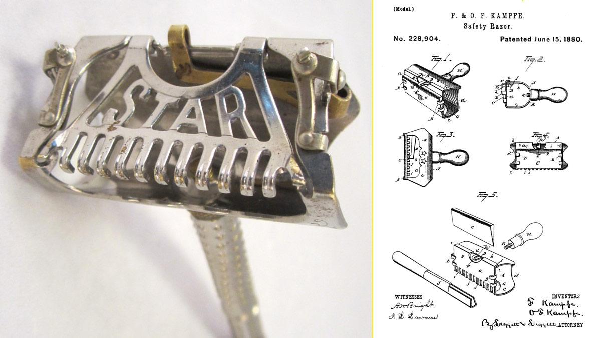 Modelo de rastrillo de afeitar Star de Kampfe Brothers (1897) - Patente de la primera maquinilla de afeitar de Gillette