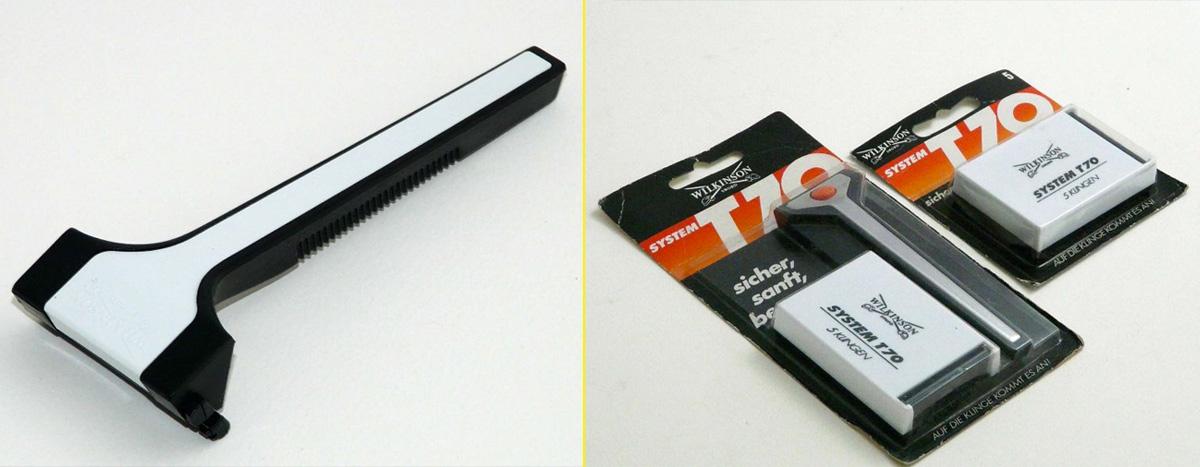 Bonded System T70: Primer modelo de hoja en cartucho de plástico ideado por Wilkinson (1971)