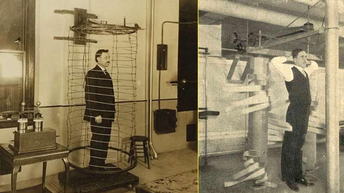 Bobinas de electroterapia y dispositivo de masaje mecánico inventados por Kellogg