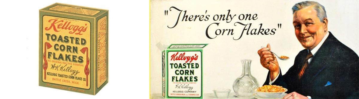 Primera caja o packaging de cereales de desayuno Kellogg's