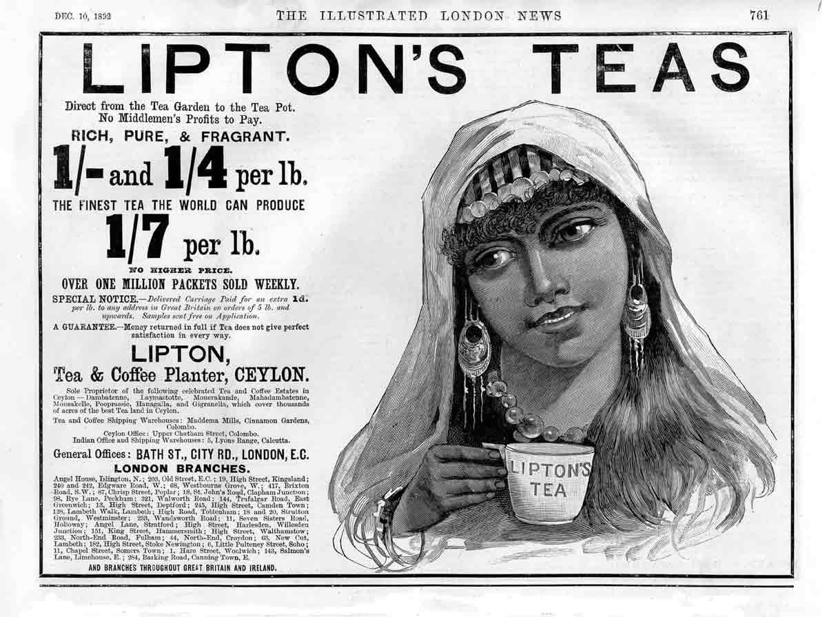 Uno de los primeros anuncios en prensa de Lipton Tea (1892)