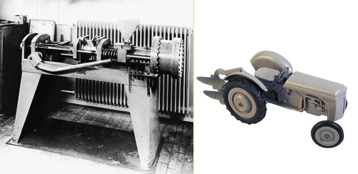 """Máquina moldeadora de plástico (1949) - Tractor """"Ferguson"""", hecho de plástico inyectado"""