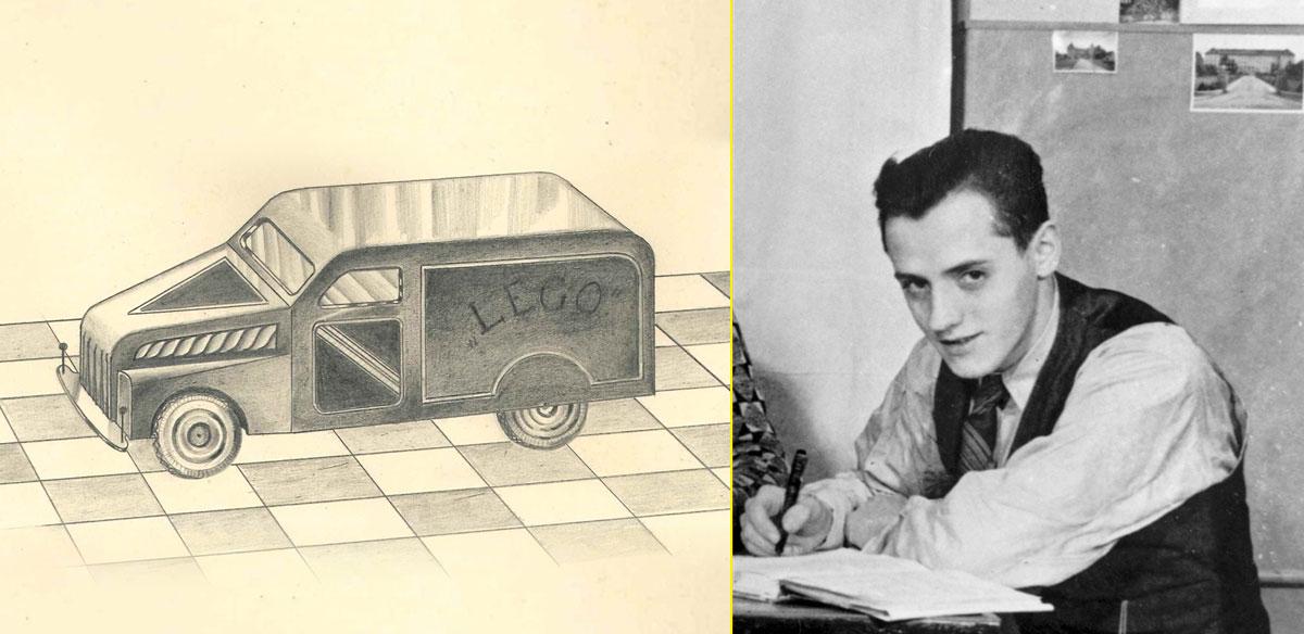Boceto de coche diseñado por Godtfred (1940) - Godtfred Kirk Kristiansen (1939)