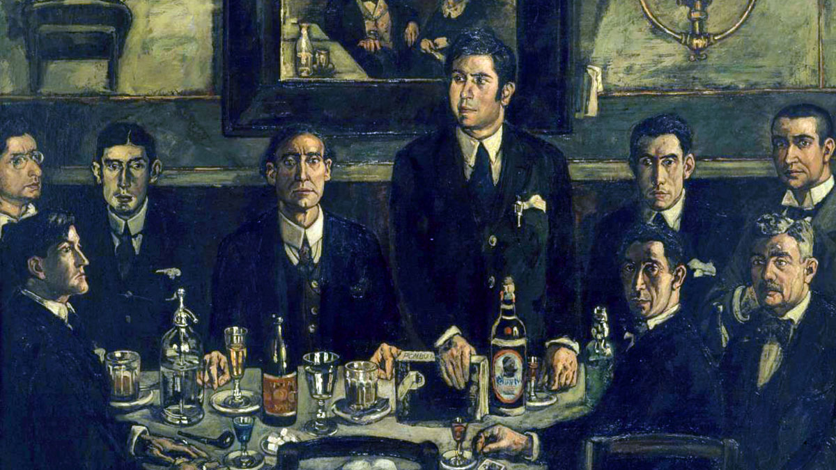 Cuadro de José Gutierrez Solana con una botella grande de Mahou: Tertulia del Café Pombo (1920)