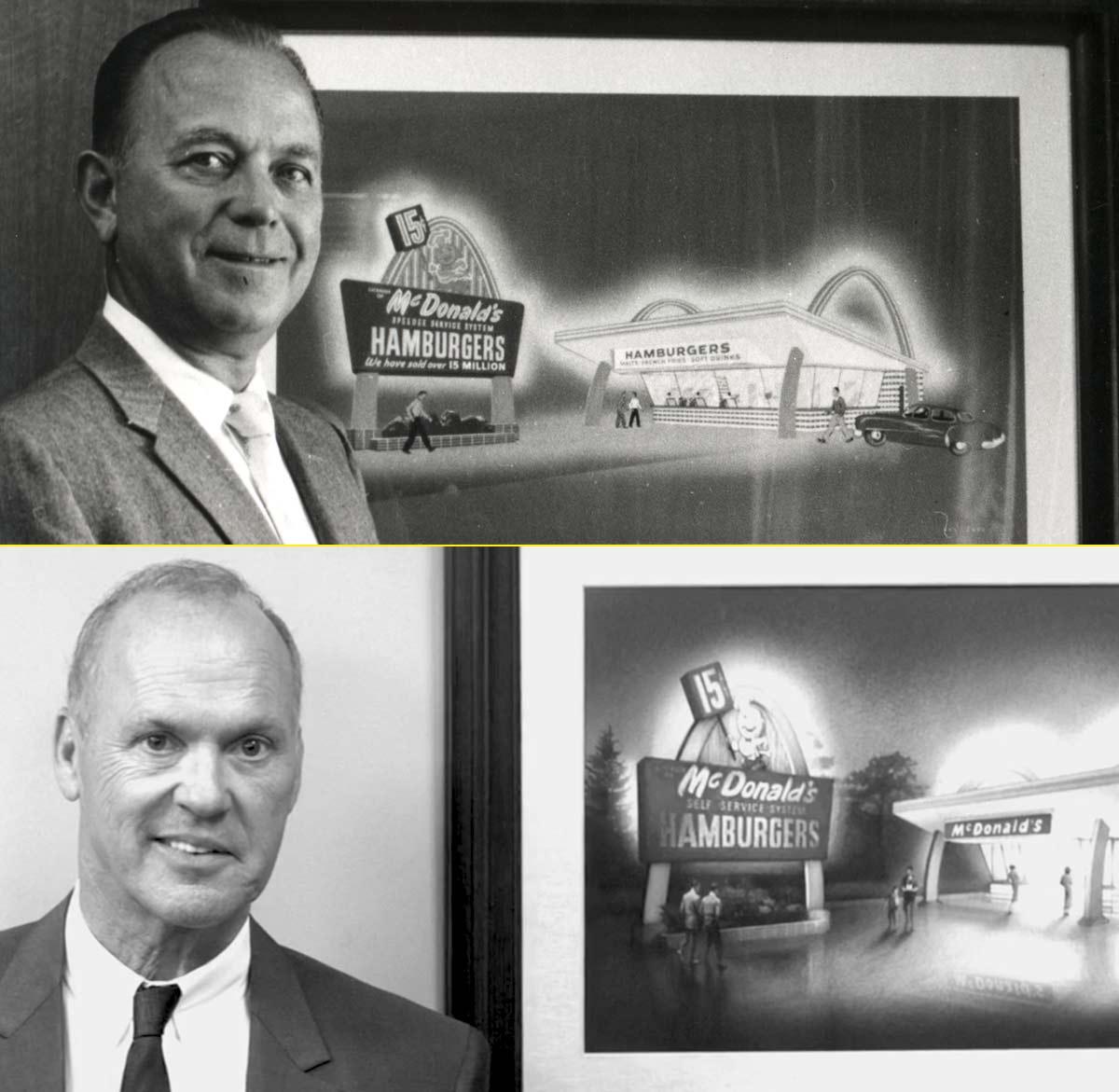 Ray Kroc con los famosos arcos dorados de fondo - Michael Keaton en la película de McDonald's