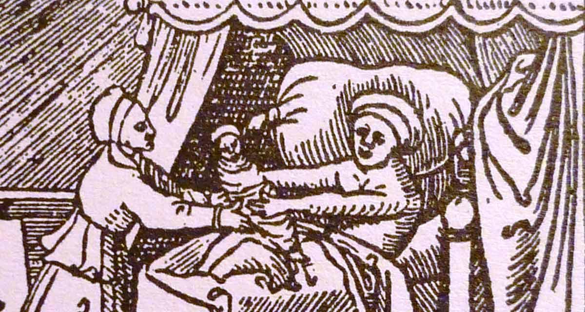 """Grabado de la """"Guía sobre los niños pequeños"""" de Bartholomäus Metlinger"""
