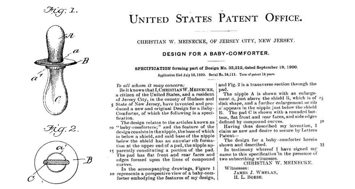 Patente del primer chupete de W. Meinecke (1901)