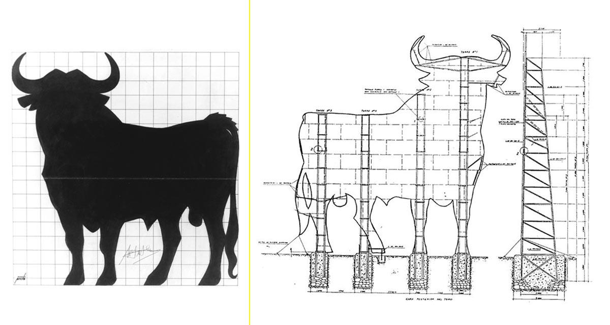 Boceto original de Manolo Prieto – Esquema de la estructura de las vallas del toro de Osborne