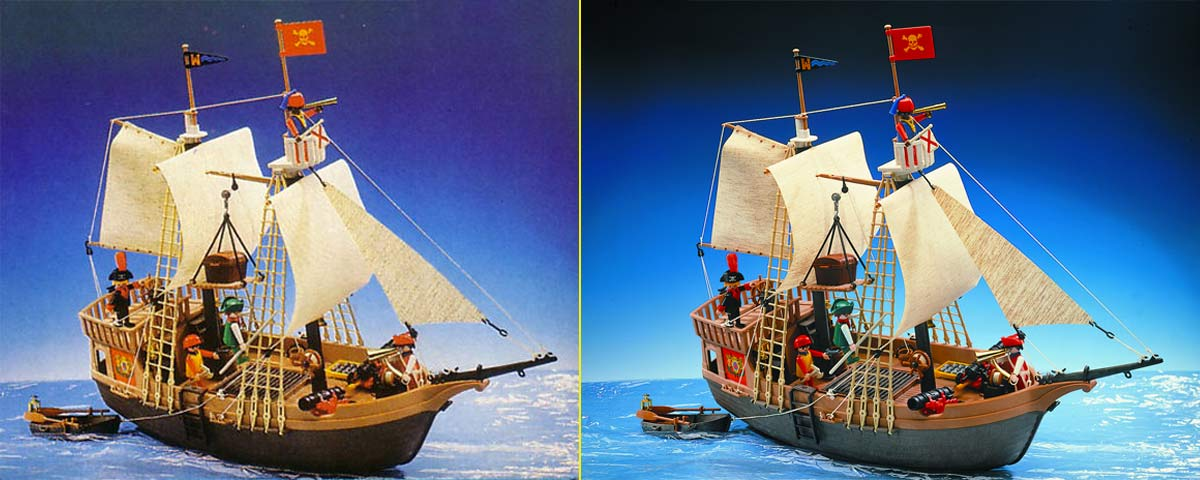 Foto del packaging del barco pirata en los 80 – Foto en la actualidad
