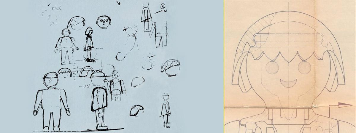 Bocetos de los primeros Playmobil creados por Hans Beck