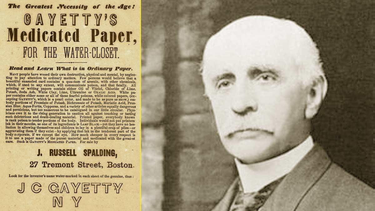 Joseph C. Gayetty pionero en la comercialización del papel higiénico