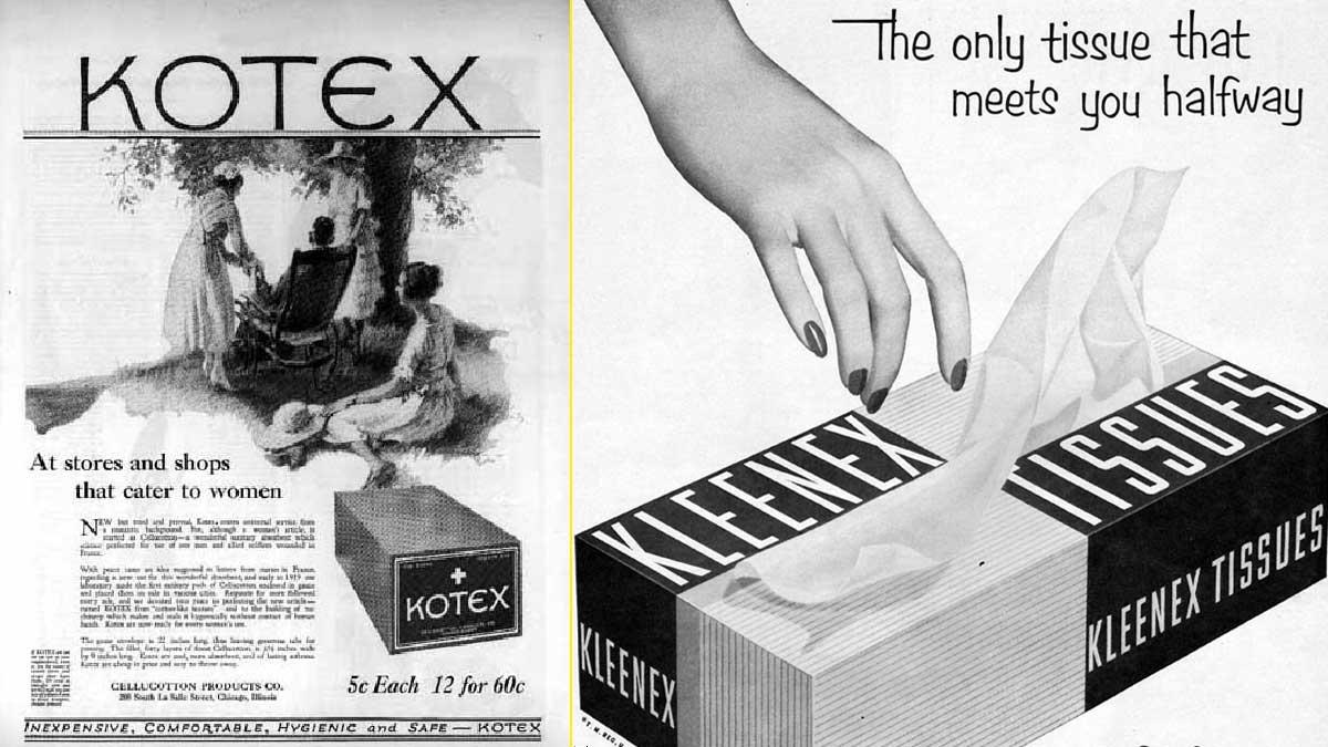 Kotex fue la primera marca de compresas – Kleenex se comercializó primero como pañuelo para la limpieza de maquillaje