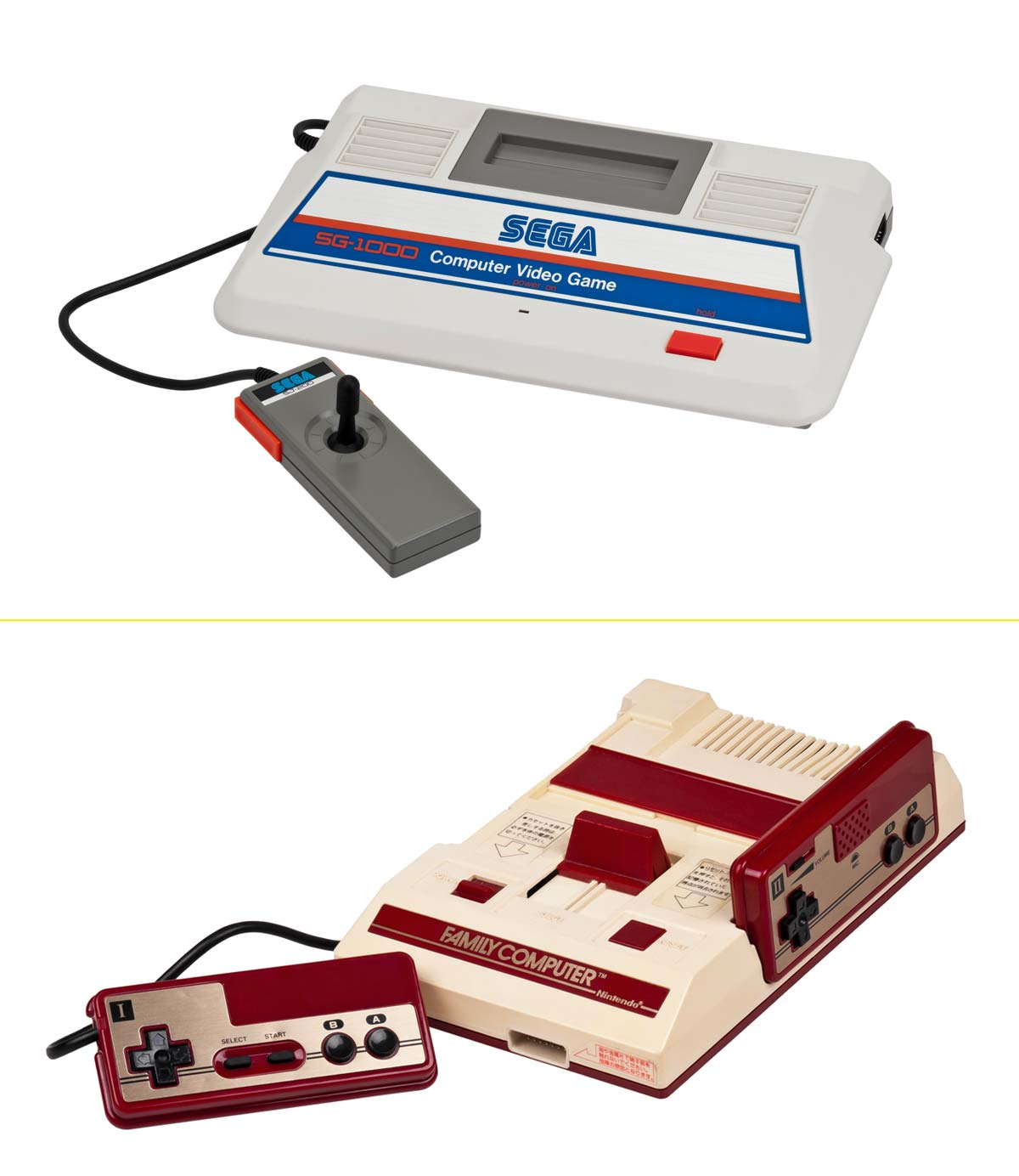 SEGA y Nintendo sacaron el mismo día su primera videoconsola para el hogar. SG-1000 y Famicom (1983)
