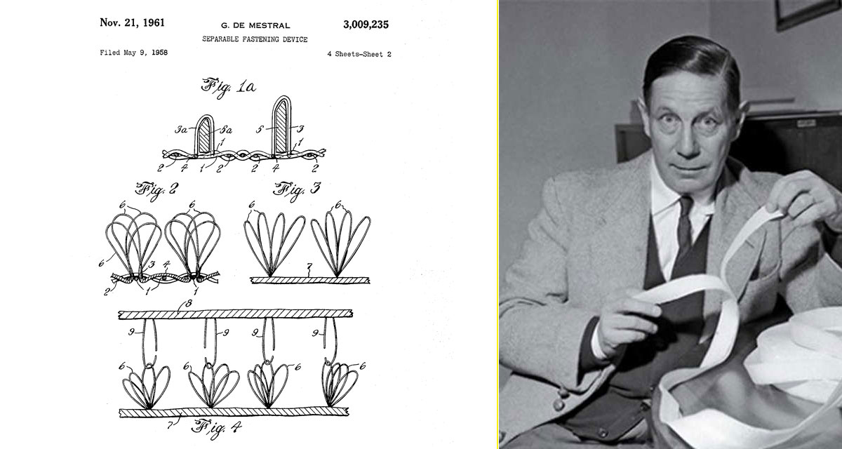 Una de las patentes que De Mestral hizo para mejorar el sistema de cierre de Velcro