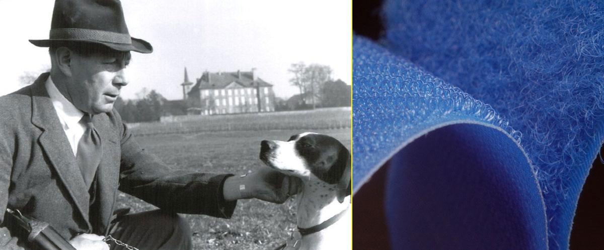 Georges De Mestral y su perro Milka – Sistema adhesivo Velcro