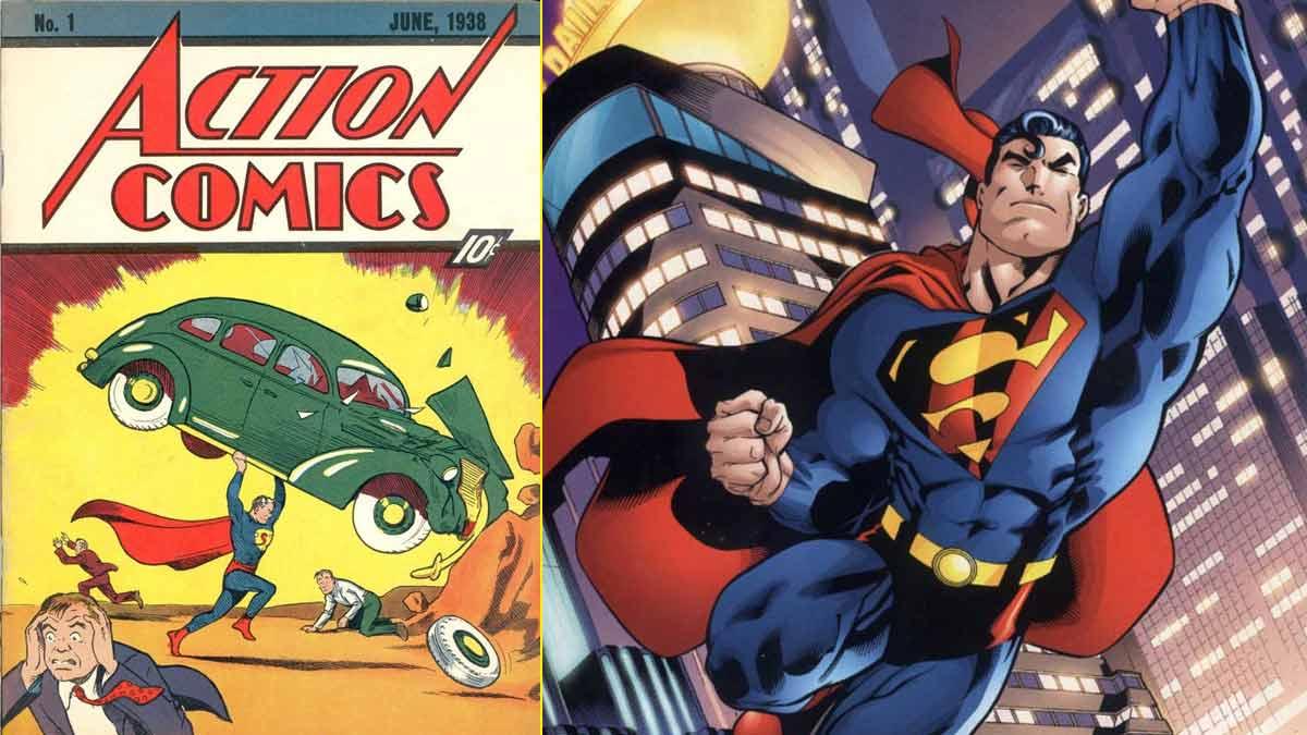 Primera portada del primer superhéroe de la historia: superman (1938)