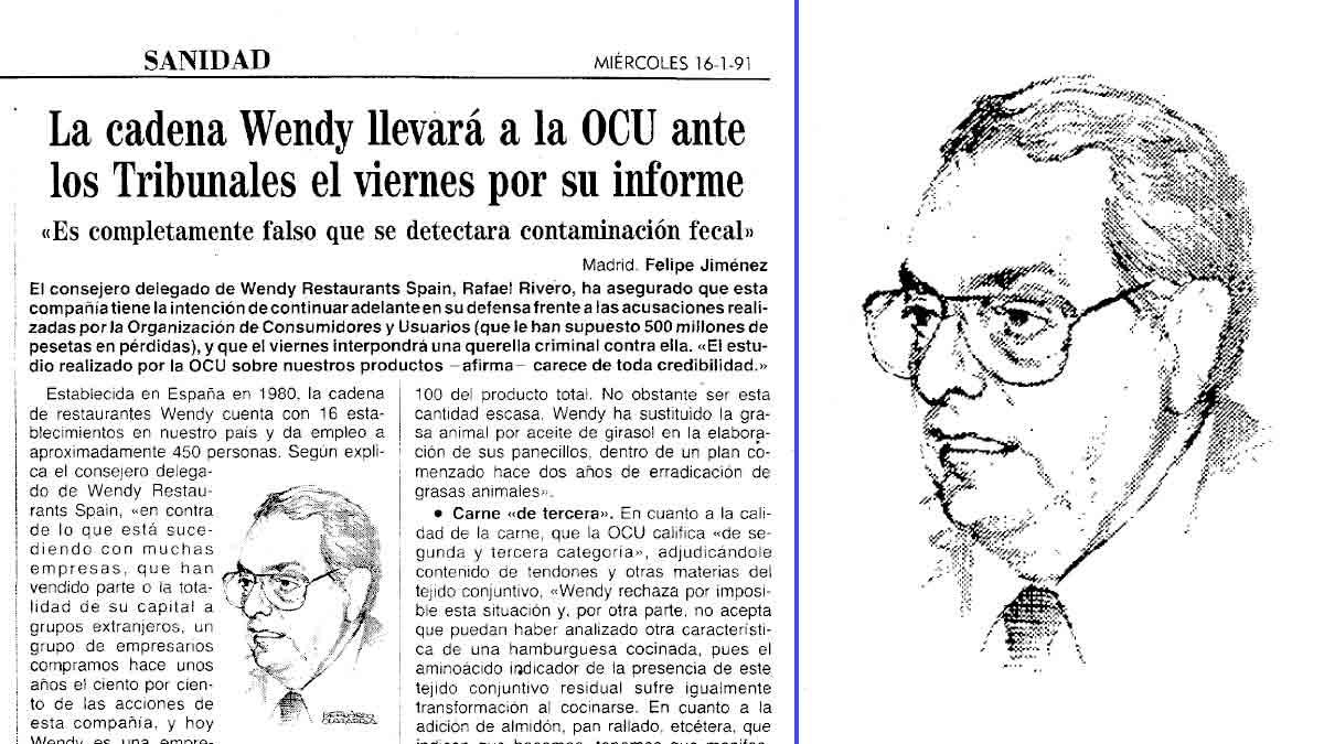Recorte de prensa del diario ABC (16 enero 1991) - Rafael Rivero, presidente de Wendy's España