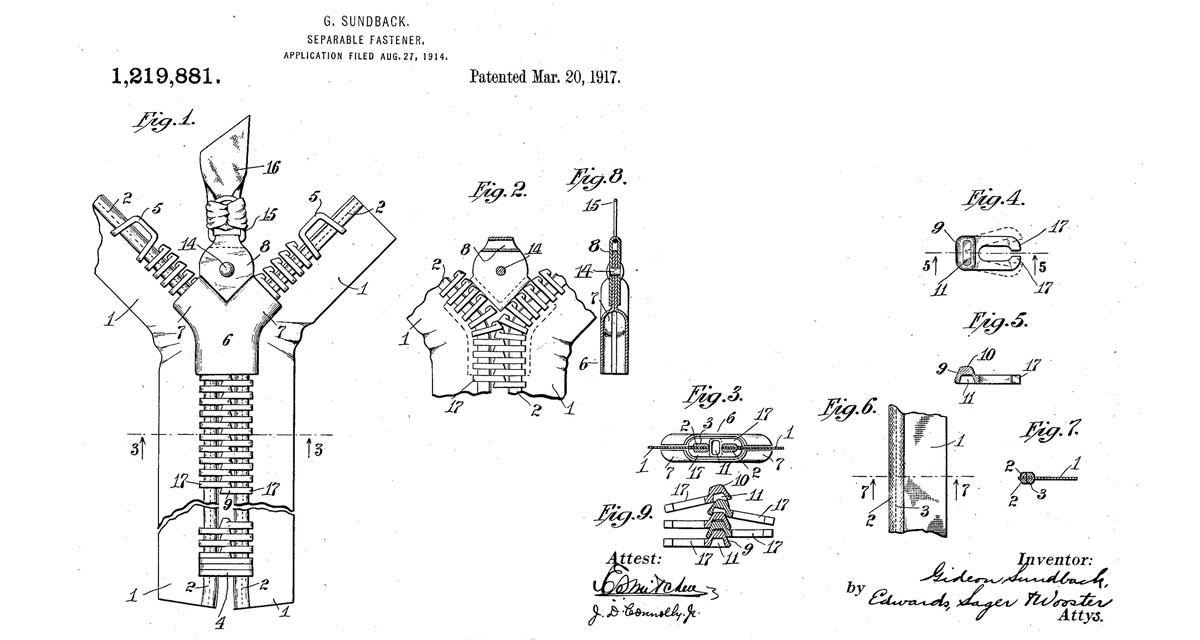 Patente de la primera cremallera, por Gideon Sundbäck
