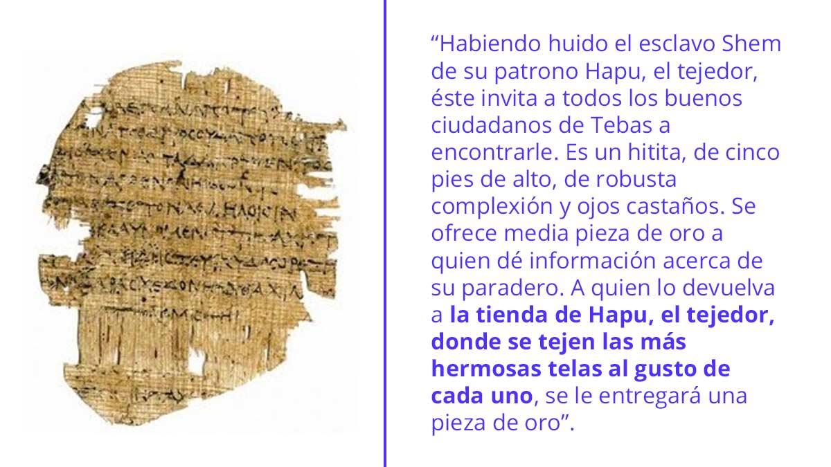 El papiro de Shem es considerado el primer anuncio escrito de la historia