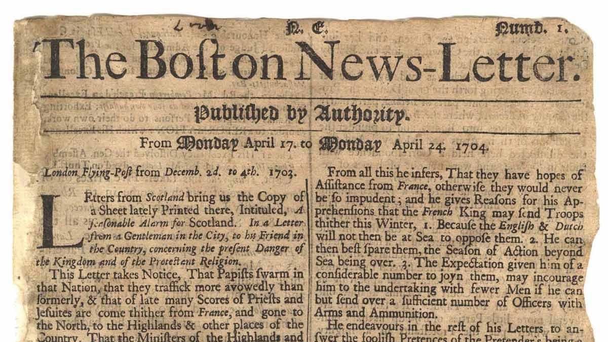 The Boston News-Letter, el primer periódico publicado en Norteamérica (1704)