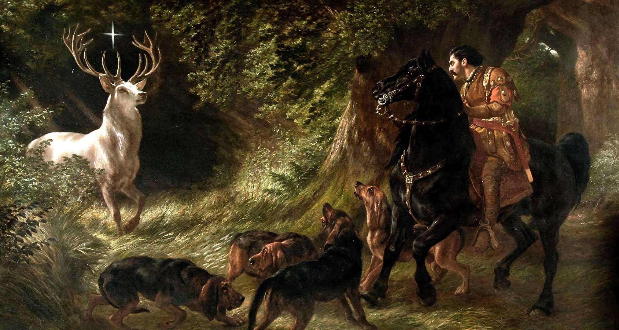 San Huberto deslumbrado por un ciervo divino