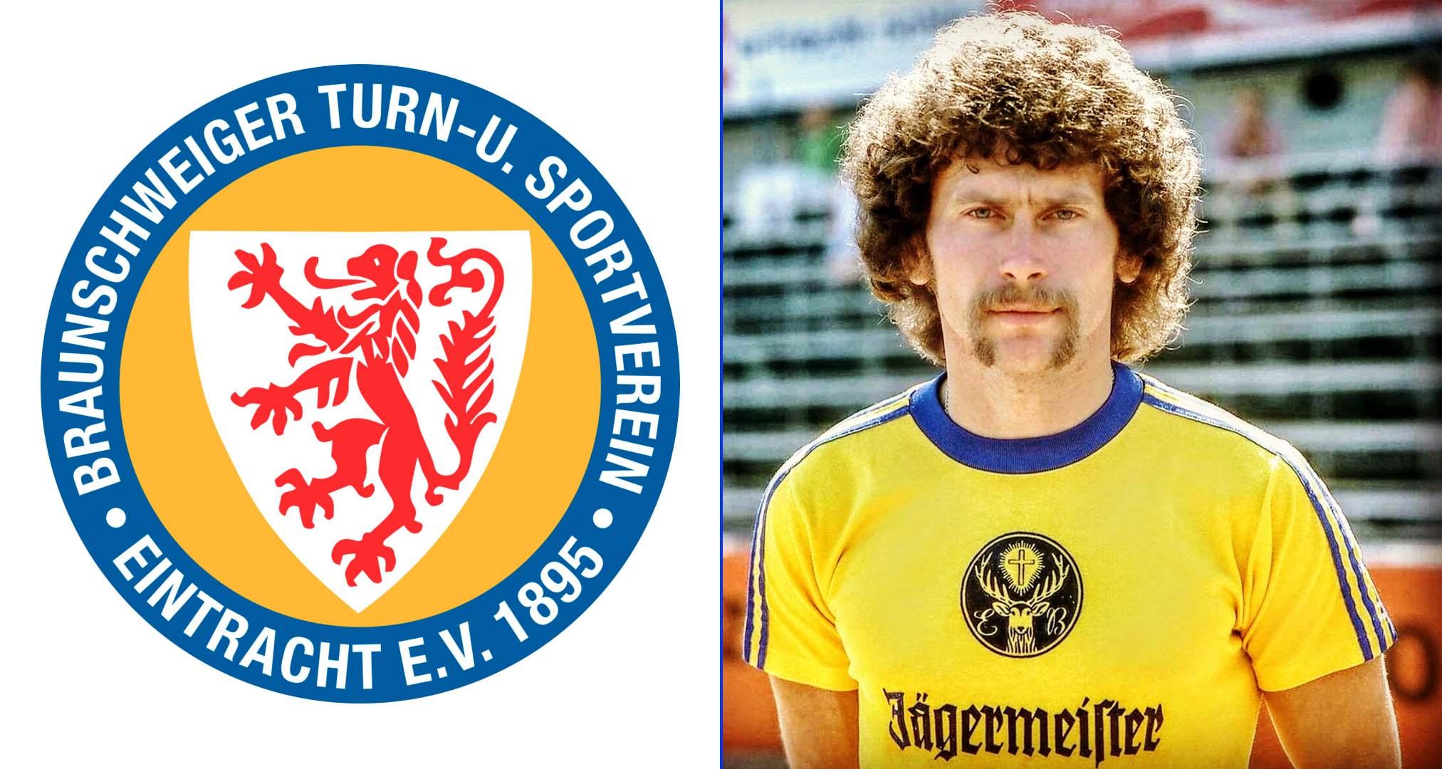 Escudo del Eintracht Braunschweig y Paul Breitner (Quien también jugó en el Real Madrid)