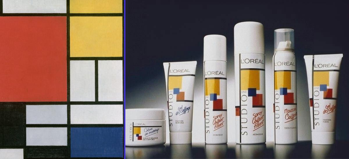 Línea gráfica de Studio Line de L'oréal inspirada en Mondrian