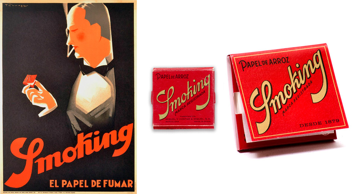 Cartel del diseñador Francesco Fábregas 1930. Librillo Smoking rojo de arroz
