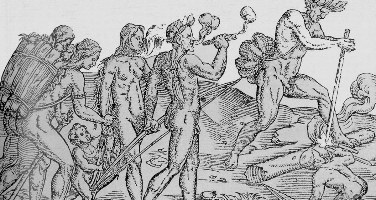 Indios fumando en Cuba. Grabado de 1558.
